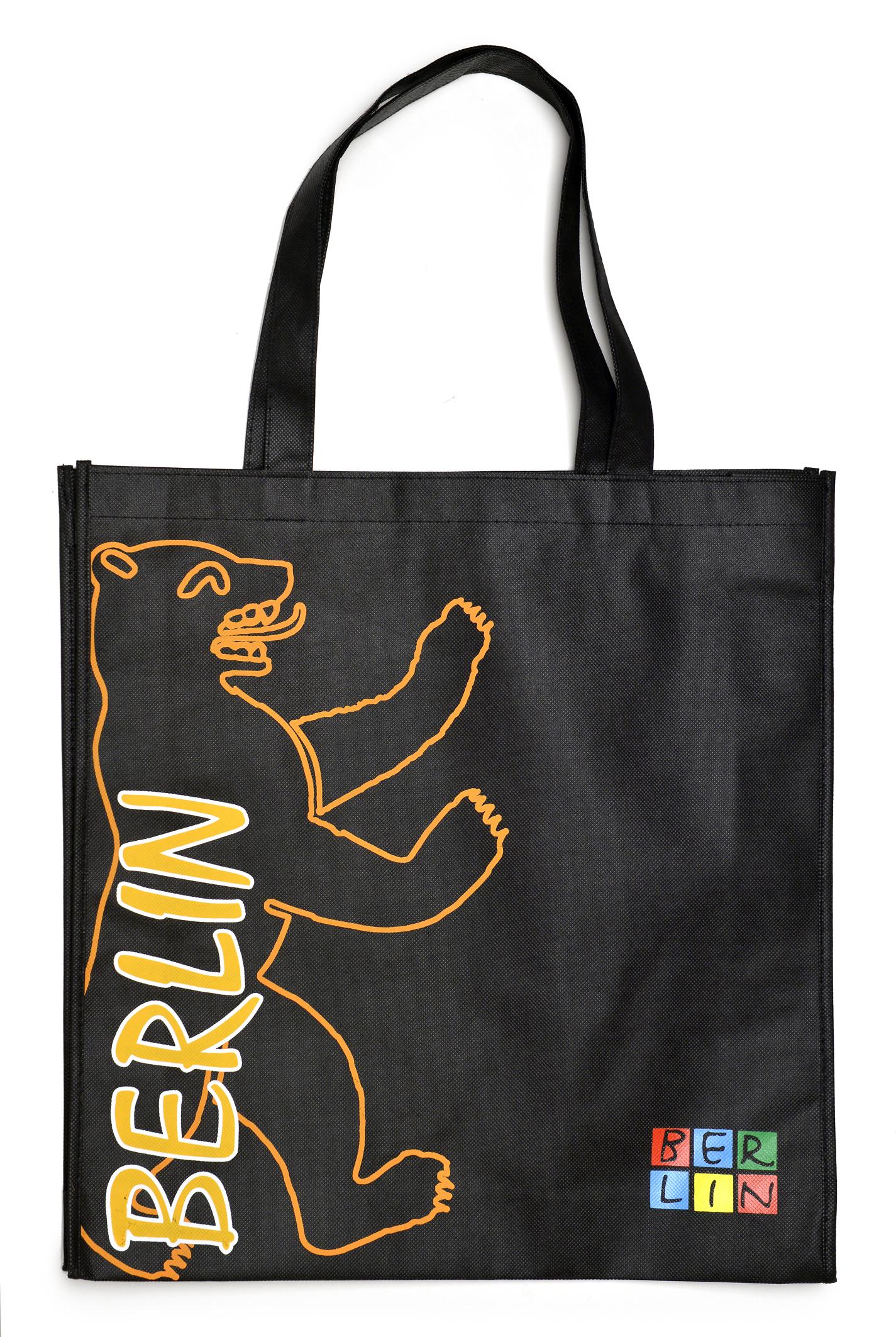 Shoppingbag BERLIN Bär schwarz-orange