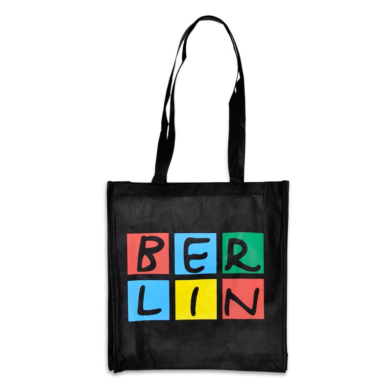 Shoppingbag BERLIN schwarz-bunt, lange Henkel