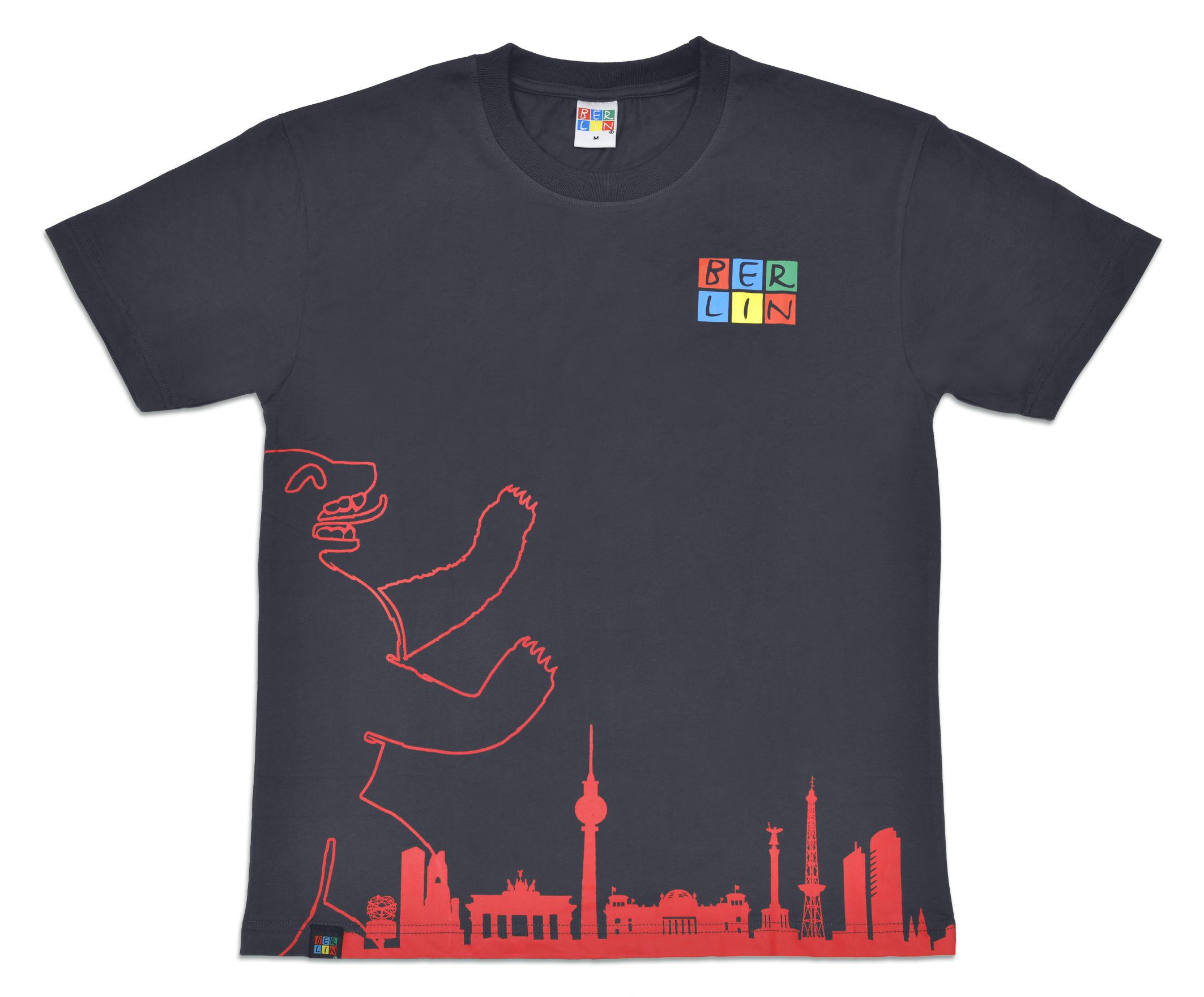 T-Shirt BERLIN Bär / Skyline anthrazit-M