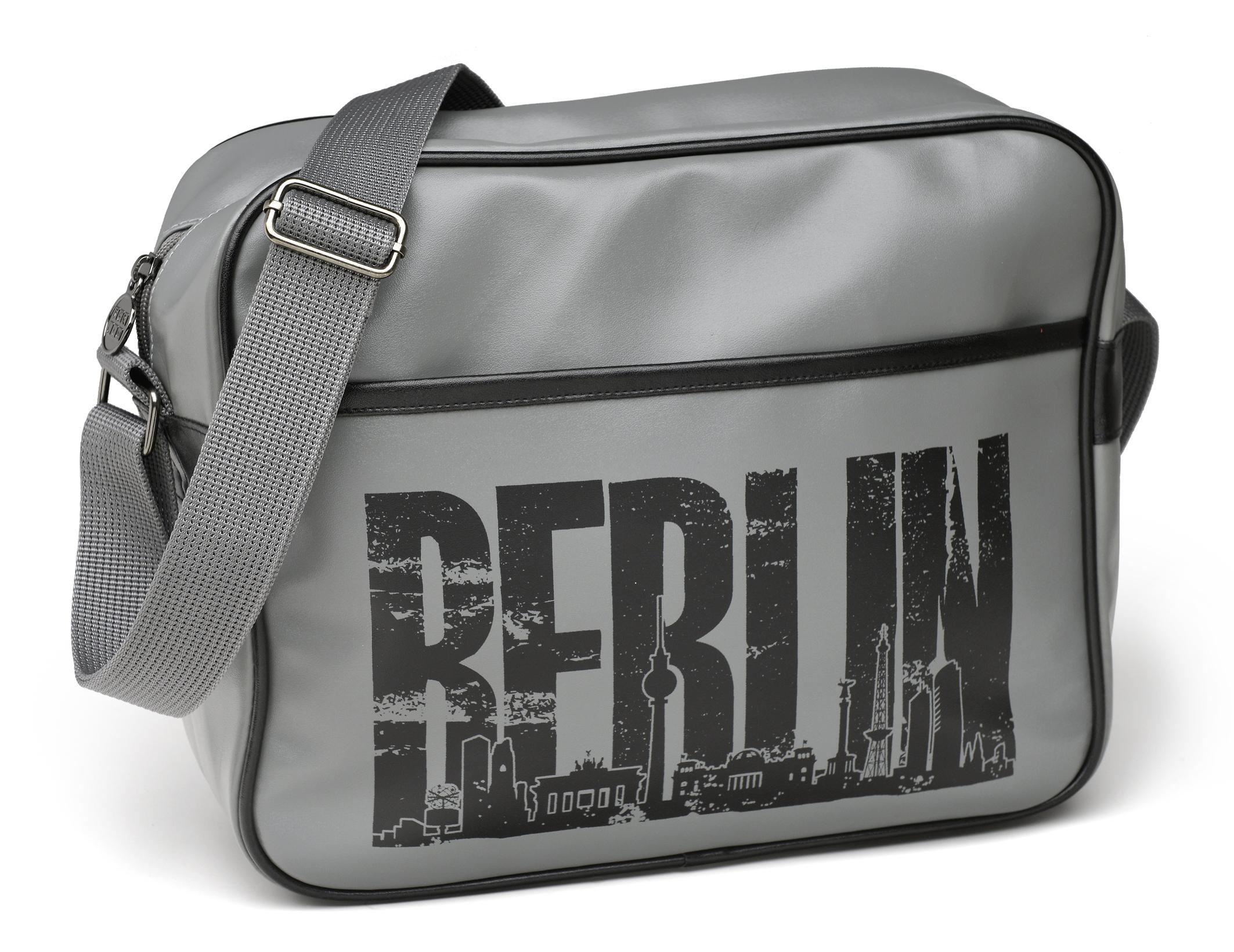 Retrotasche BERLIN Skyline grau-schwarz