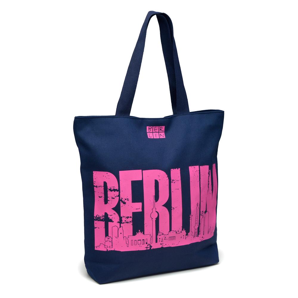 Canvas Shopper BERLIN Skyline dunkelblau-pink