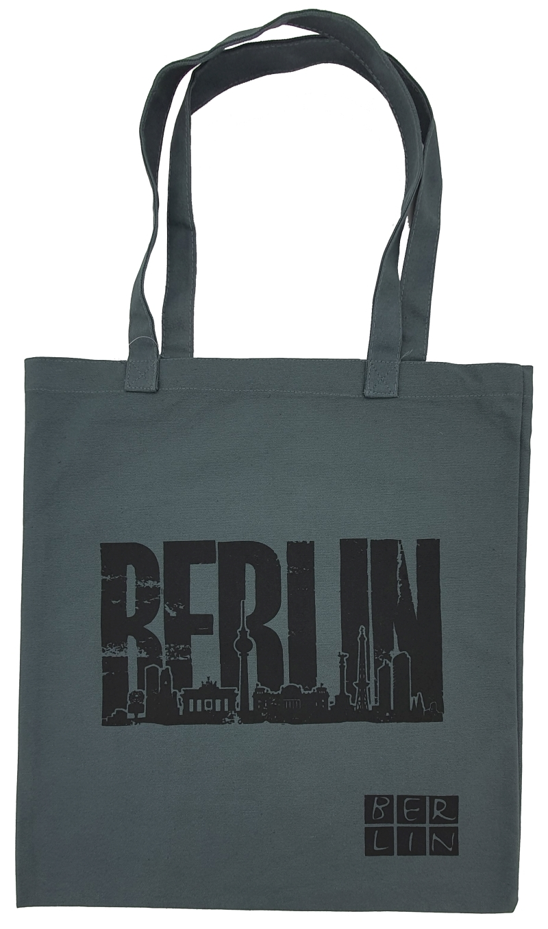 Baumwoll-Shoppingbag BERLIN Skyline grau