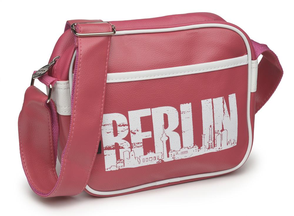 Retrotasche BERLIN Skyline klein pink-weiß