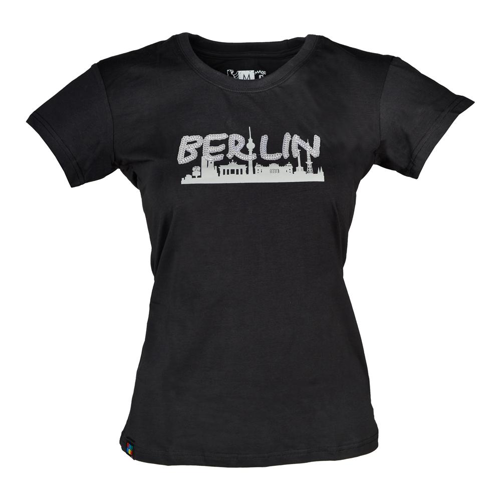 Lady T-Shirt Pailetten Skyline schwarz-S