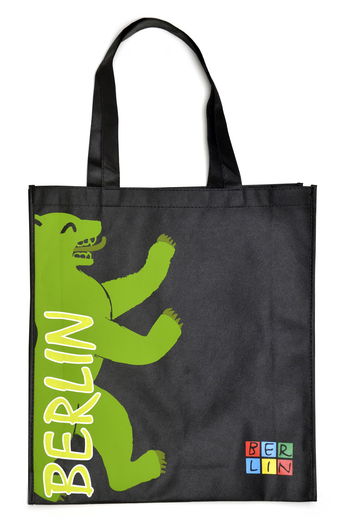 Shoppingbag BERLIN Bär schwarz-grün