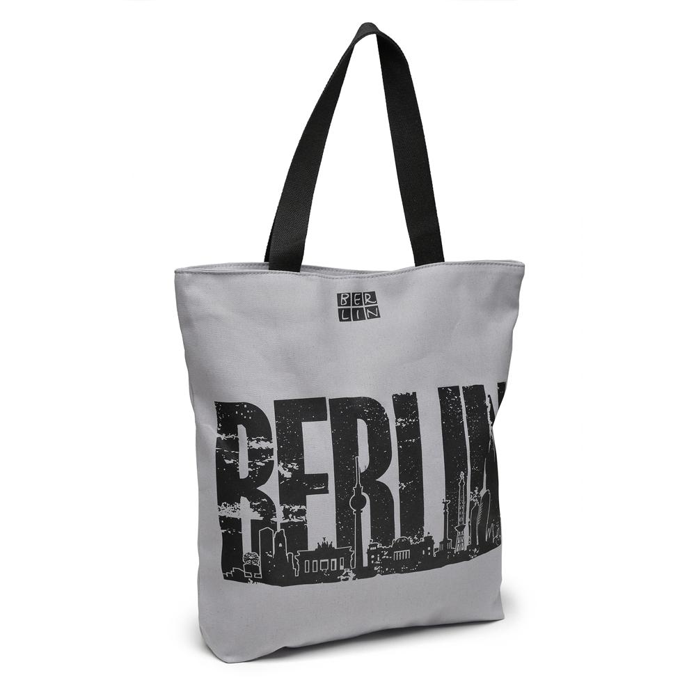 Canvas Shopper BERLIN Skyline grau-schwarz