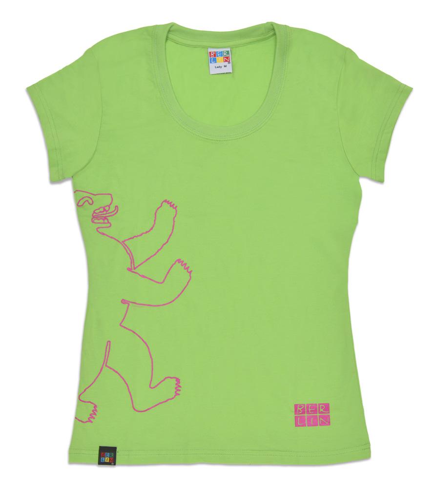 Lady T-Shirt BERLIN Bär outline hellgrün-L