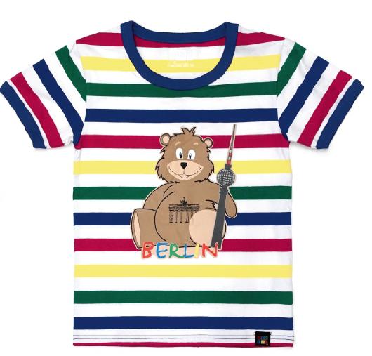 Kids T-.Shirt Bär weiß-bunt gestreift-98