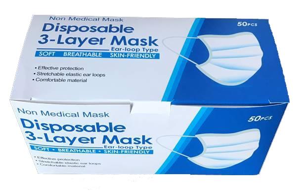 Einweg-Gesichtsmaske 50'er Pack (Stück 0,20 €)