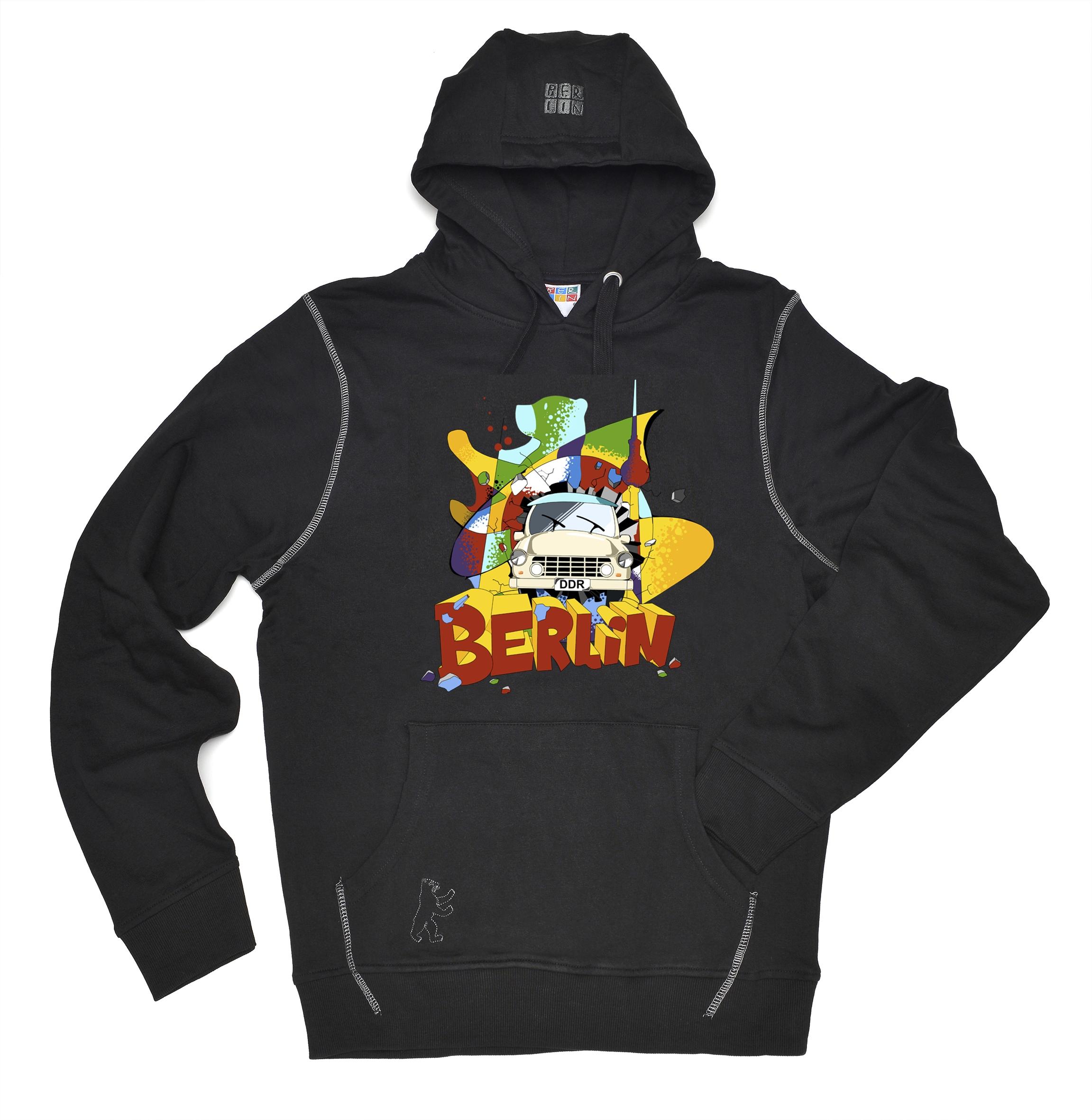 Kap-Sweatshirt Trabi schwarz-XL