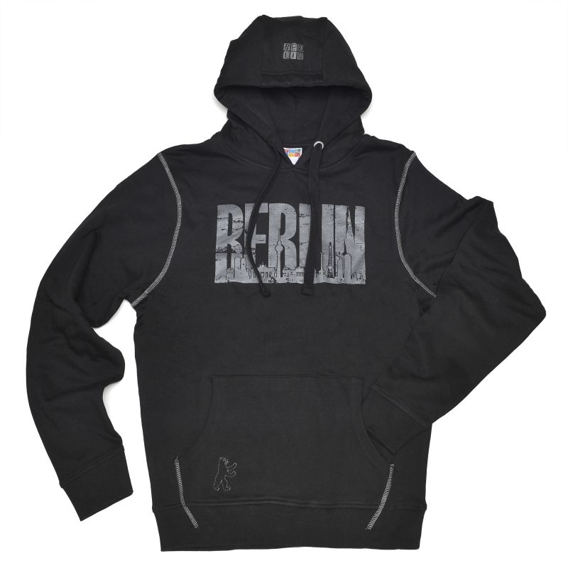 Kap-Sweatshirt BERLIN Skyline schwarz-anthrazit-XXL