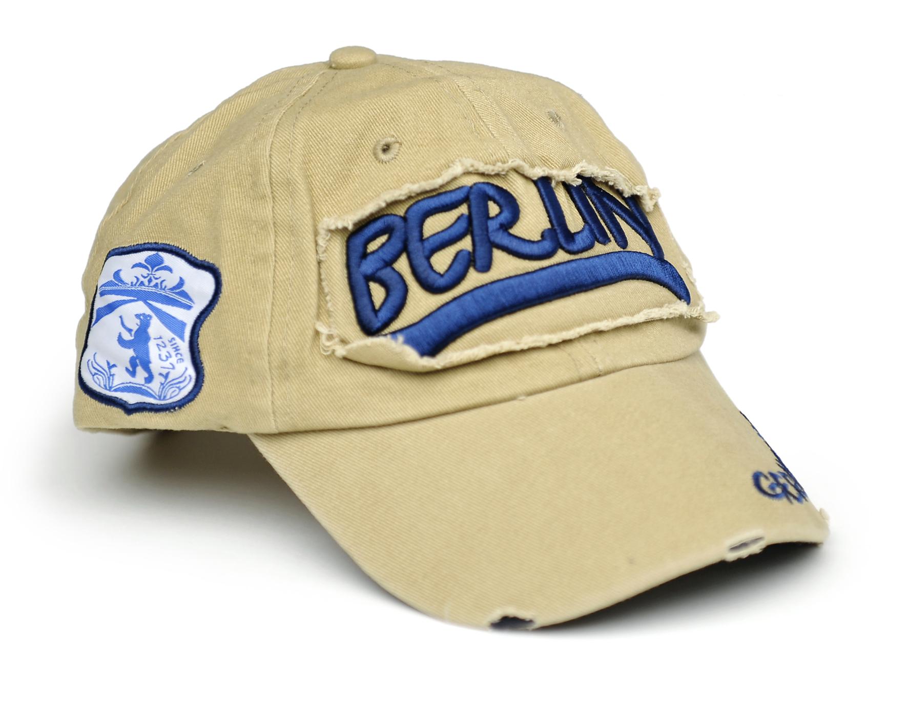 Basecap BERLIN beige-blau 3D