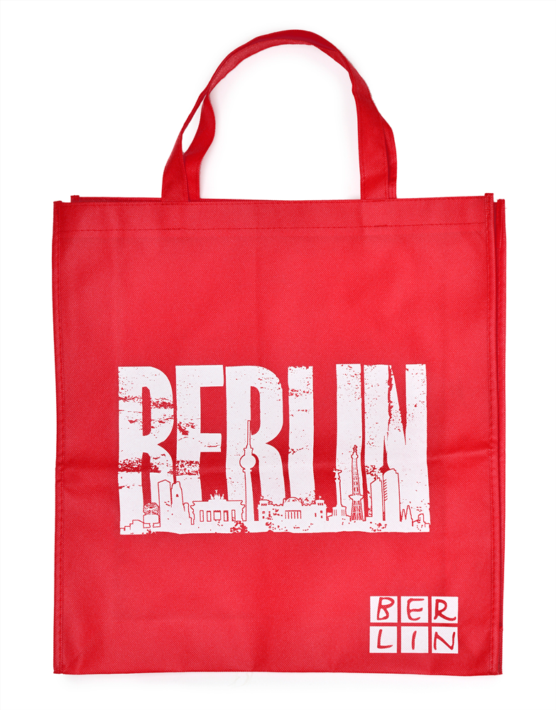 Shoppingbag BERLIN Skyline rot-weiß