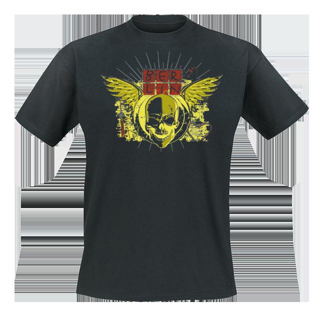 T-Shirt BERLIN Streetart Skull schwarz-L