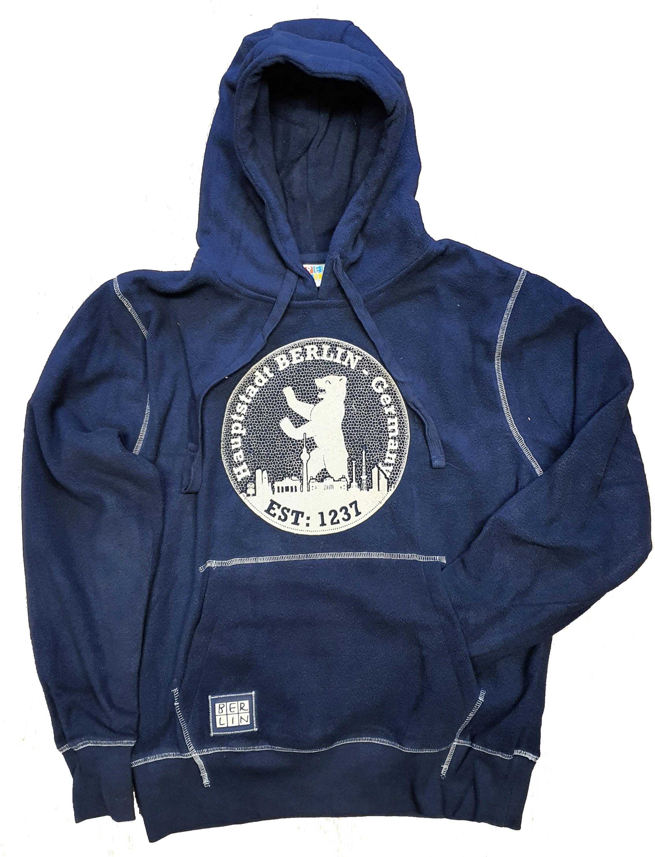 Kap Sweatshirt BERLIN Stempel Fleece blau-140/152