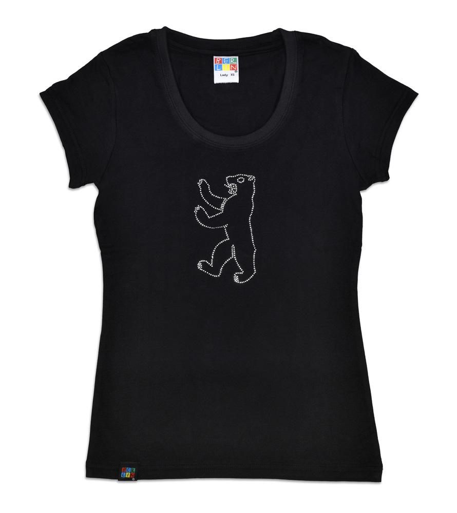 Lady T-Shirt BERLIN Bär / Kristallstein schwarz-XL
