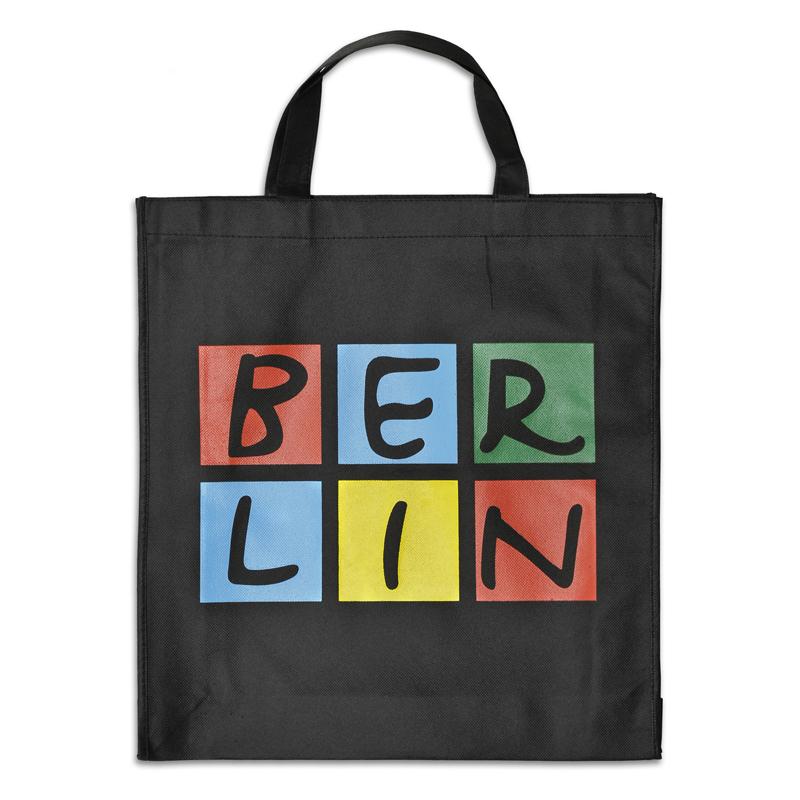 Shoppingbag BERLIN schwarz-bunt, kurze Henkel