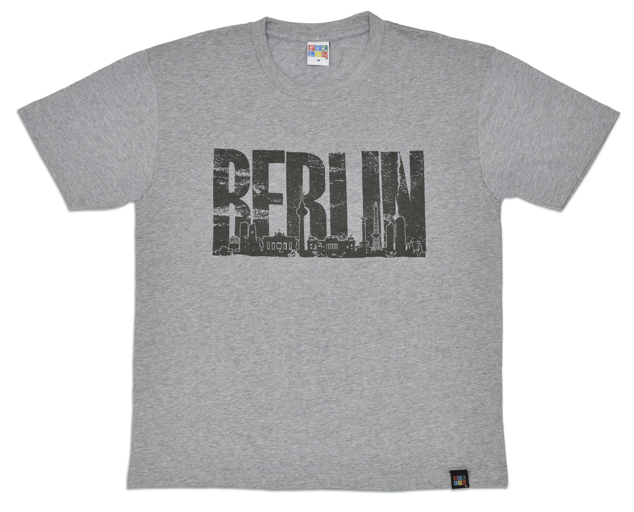 T-Shirt BERLIN Skyline grau-L