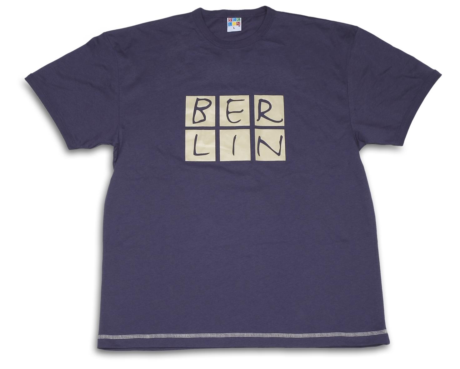 T-Shirt BERLIN Skyline blau-beige-M