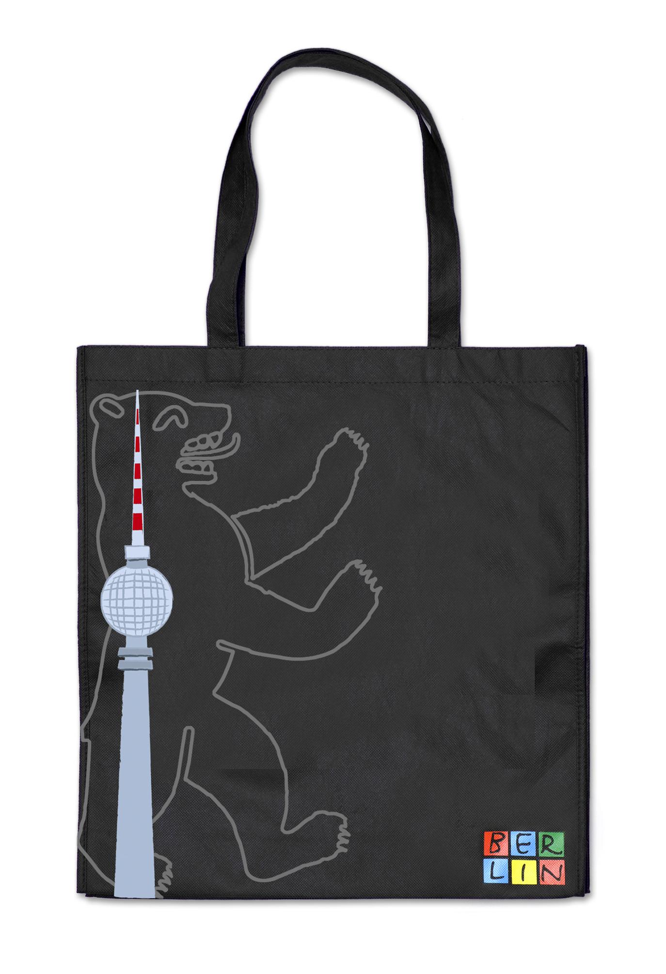 Shoppingbag BERLIN Bär TV-Turm schwarz-grau