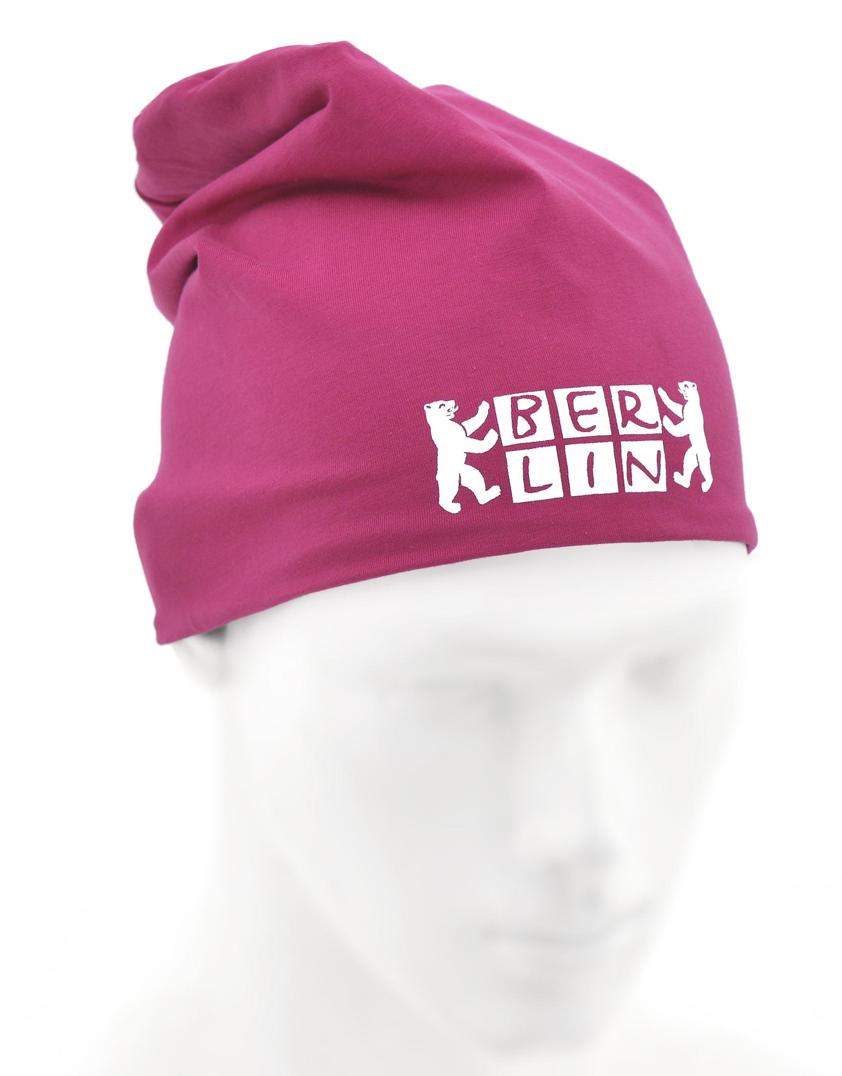Wendemütze BERLIN Bär  grau/pink