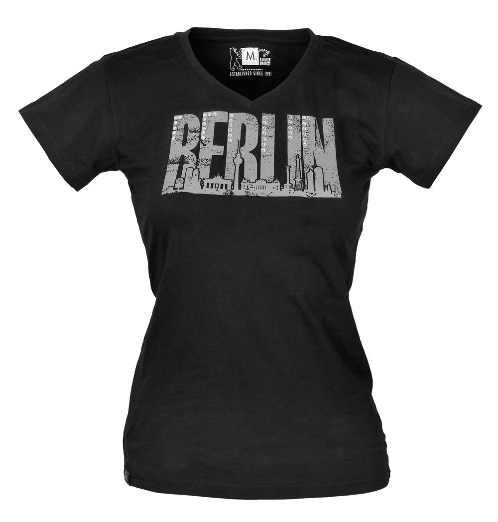 Lady V-Neck T-Shirt Skyline Kristallstein schwarz -S