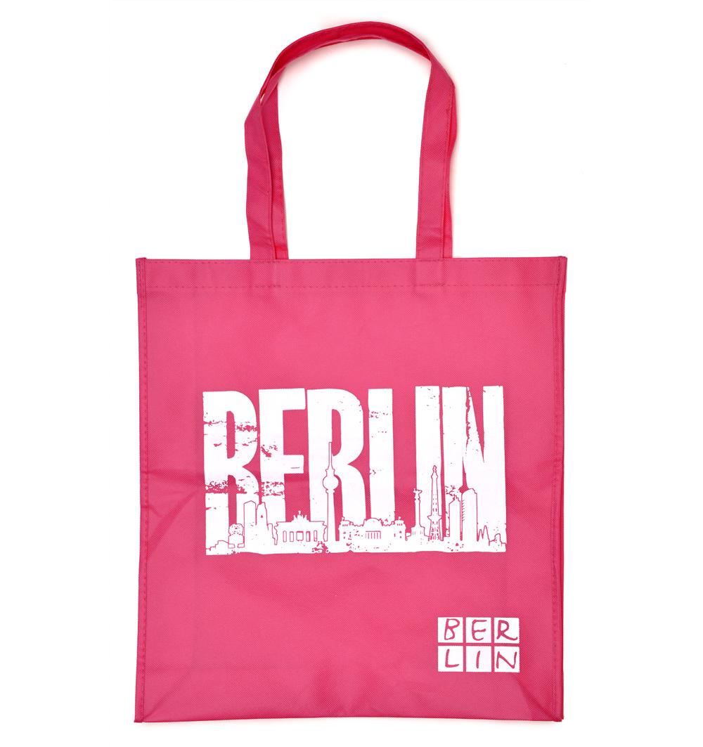 Shoppingbag BERLIN Skyline pink-weiß