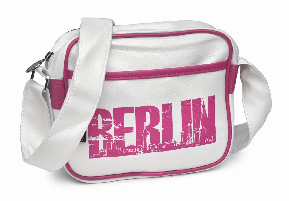 Retrotasche BERLIN Skyline klein weiß-pink