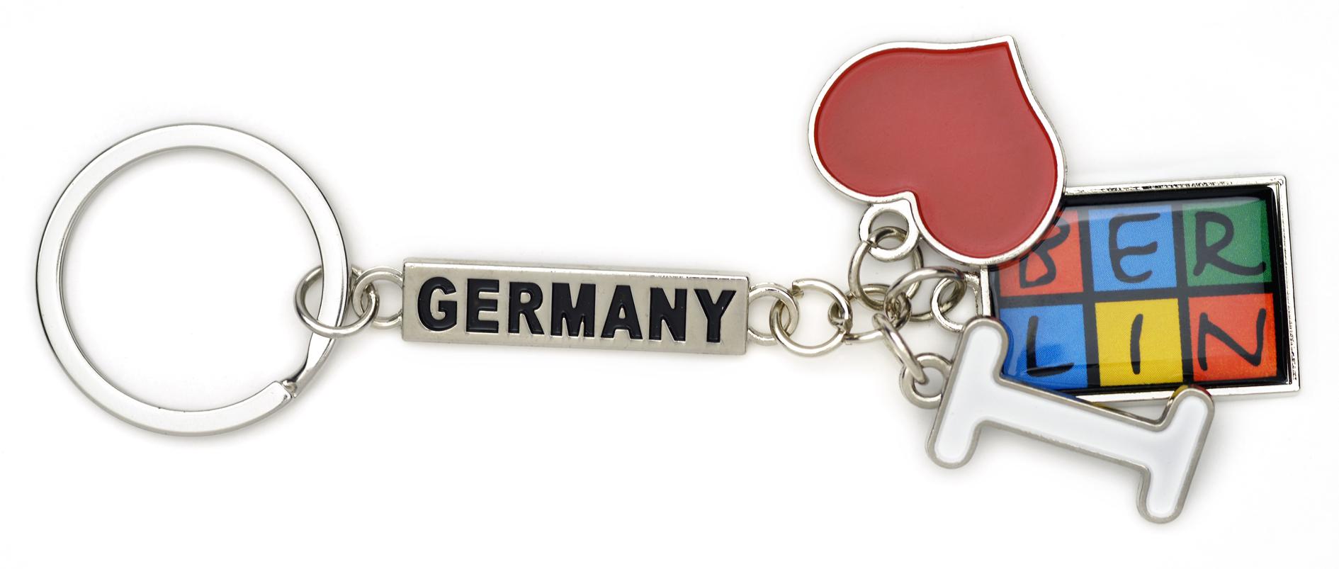 """Schlüsselanhänger Metall """"I love BERLIN"""" - 3-teilig"""