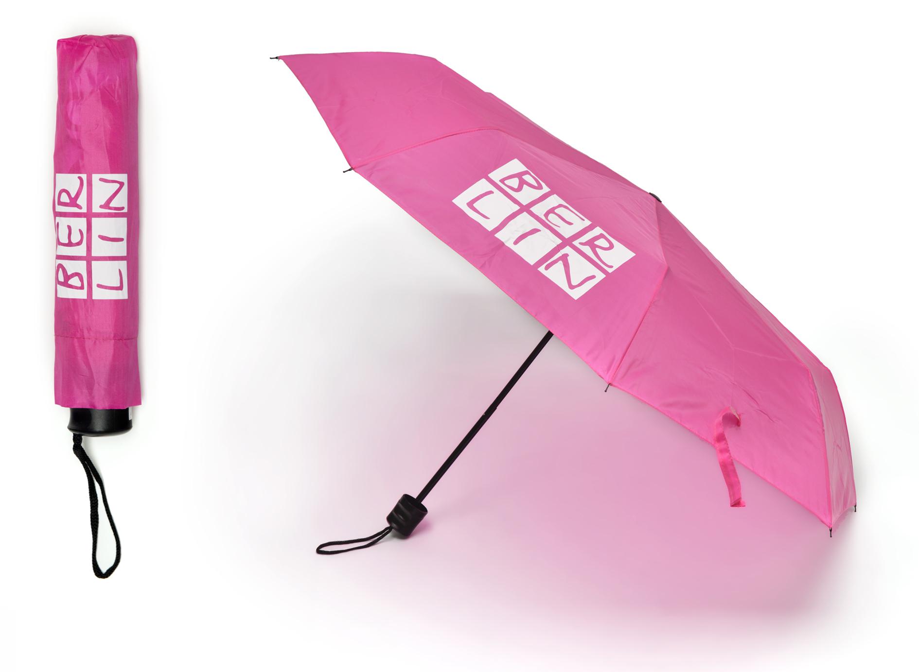 Faltregenschirm BERLIN rosa-weiß