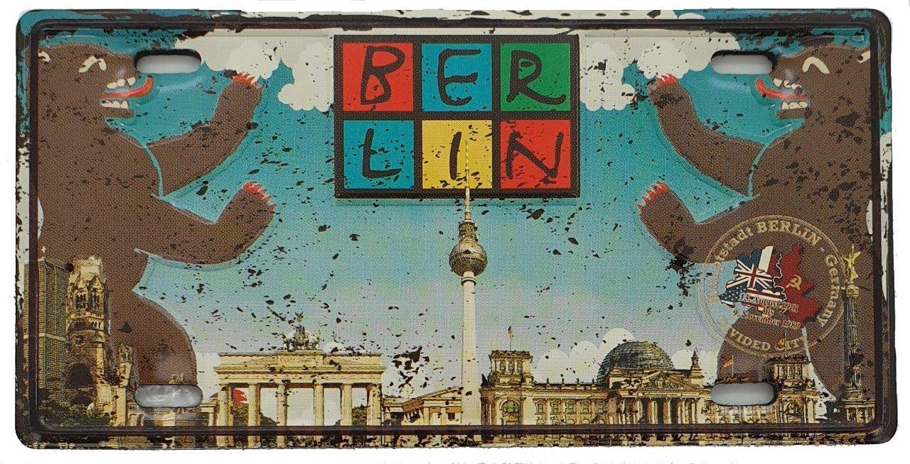 Blechmagnet BERLIN Bär Skyline