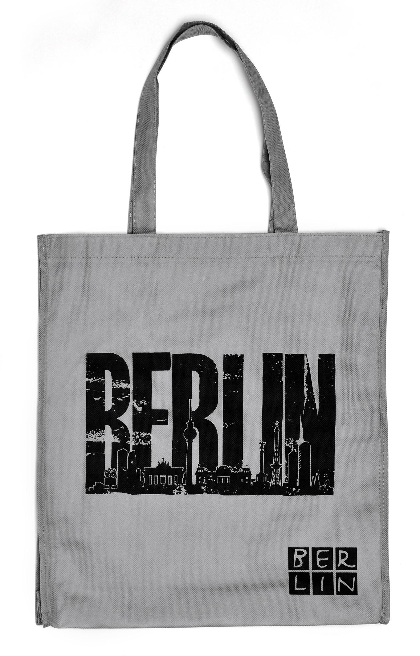 Shoppingbag BERLIN Skyline grau