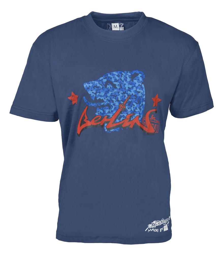 T-Shirt BERLIN Streetart Bär blau-M