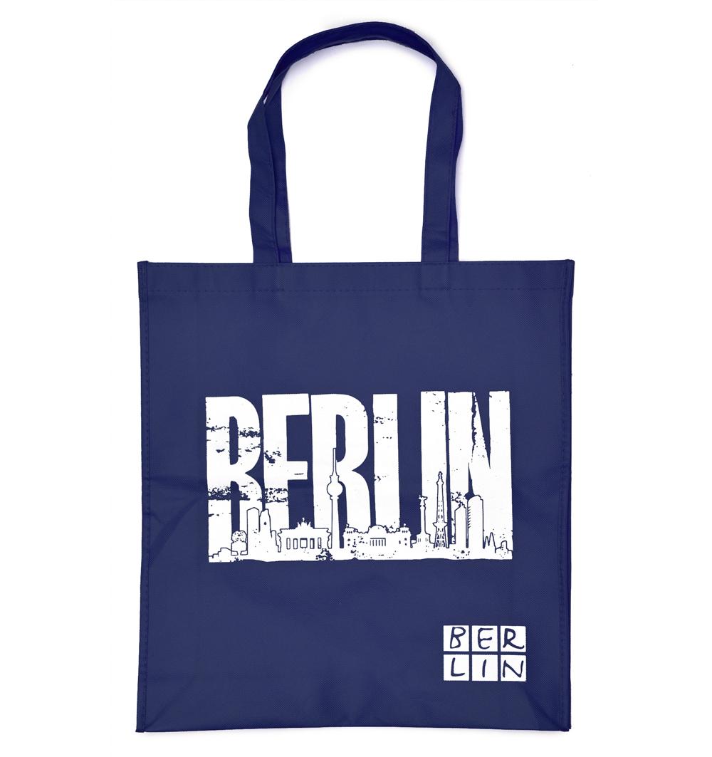 Shoppingbag BERLIN Skyline dunkelblau-weiß