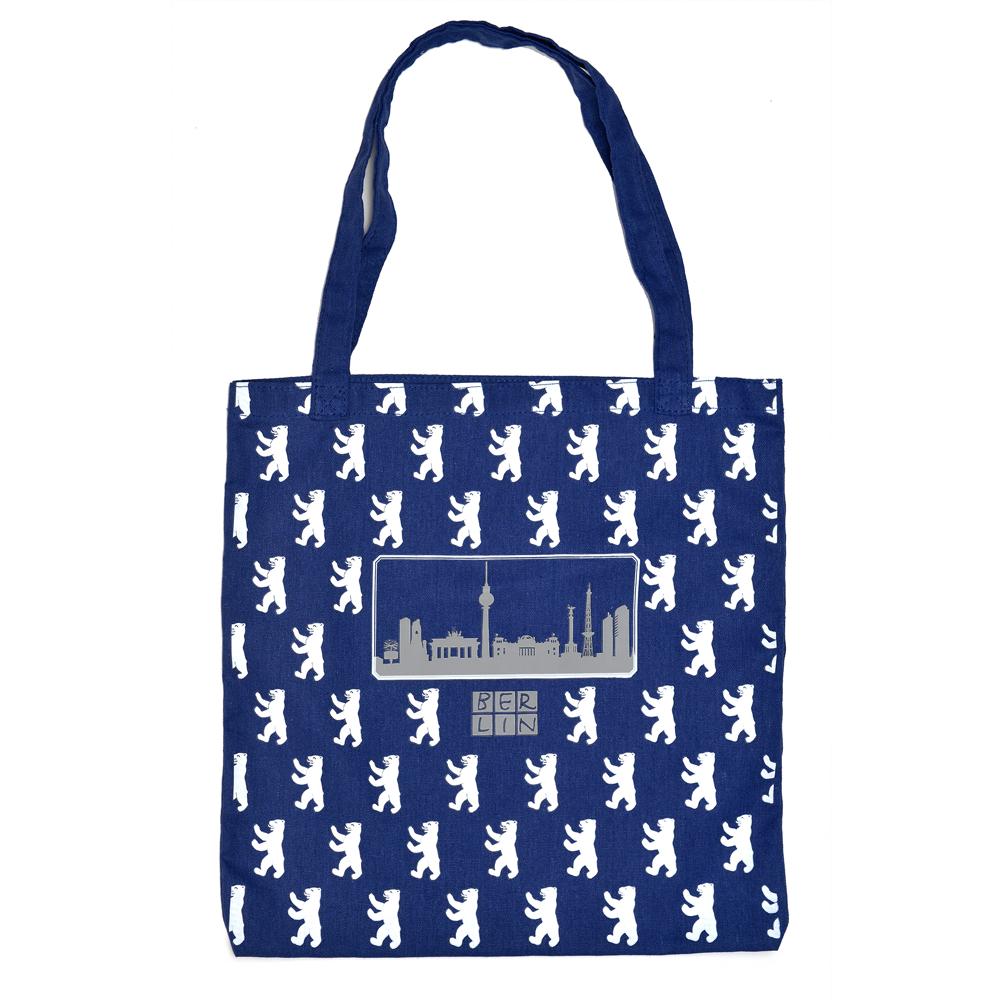 Baumwoll-Shoppingbag Skyline Bär All Over
