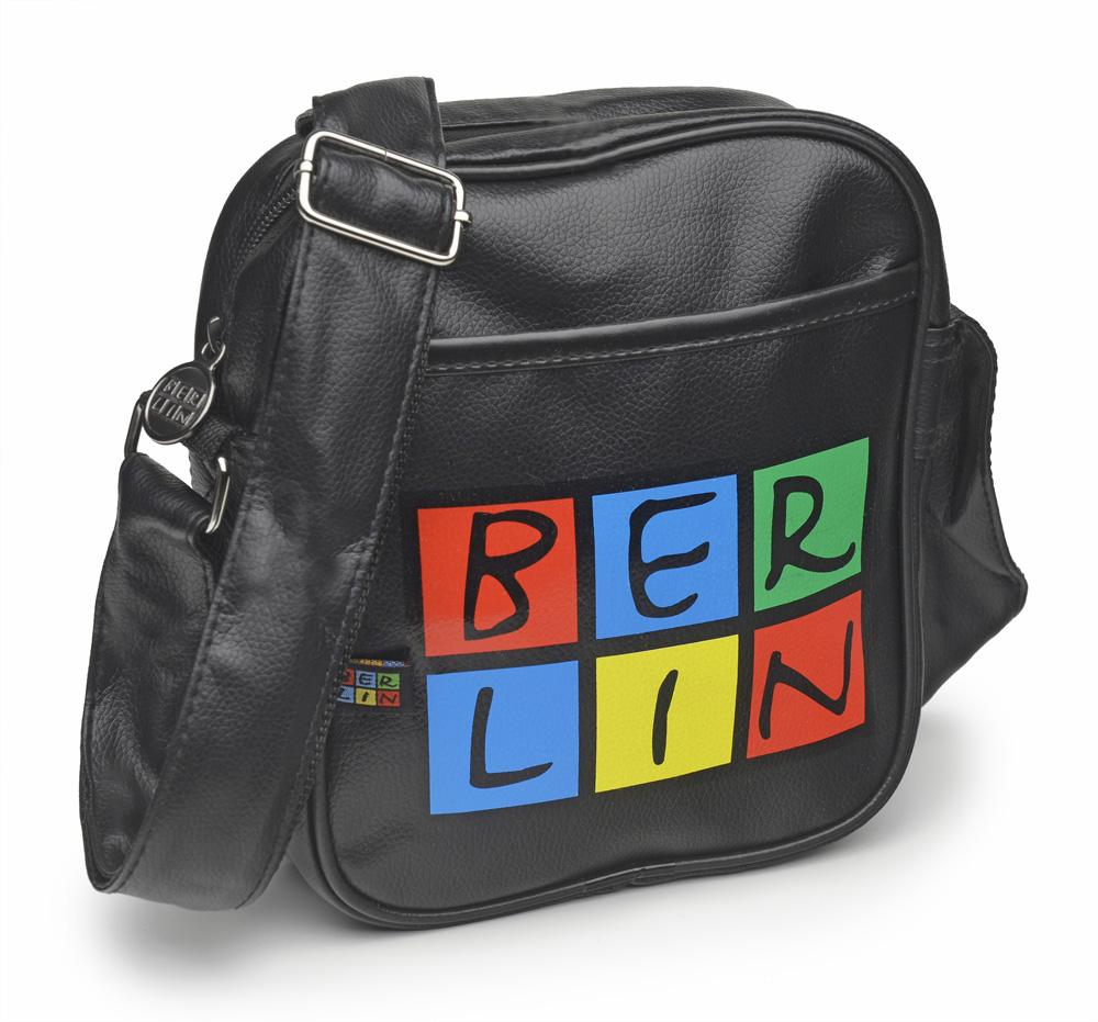 Retrotasche BERLIN klein schwarz-bunt